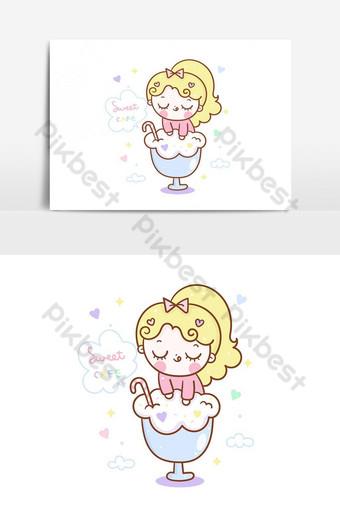 linda chica helado dibujos animados de patrones sin fisuras ilustraciones kawaii personaje vector femenino Elementos graficos Modelo AI
