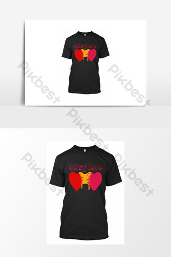 T Shirt Design For Valentine Day. Sticky Love with hearts red and pink colors. PNG Images Template AI