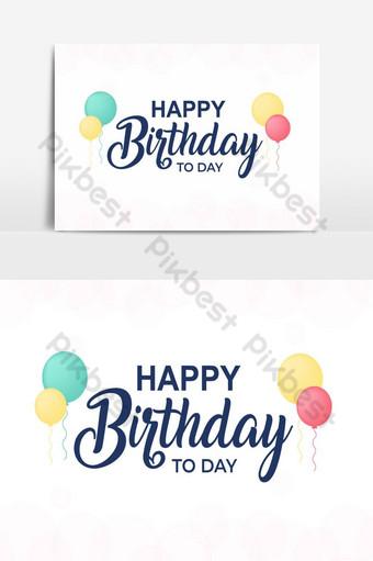 cartão de feliz aniversário Elementos gráficos Modelo AI