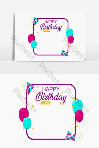 fundo de cartão de feliz aniversário Elementos gráficos Modelo AI