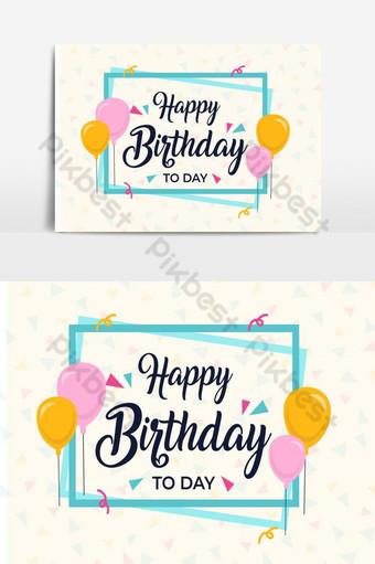 Modèle de carte de voeux joyeux anniversaire Éléments graphiques Modèle AI