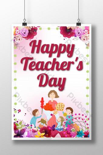 Carte de voeux pour le jour des enseignants heureux Modèle PSD