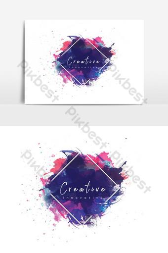 تصميم شعار الطباعة بالألوان المائية صور PNG قالب PSD