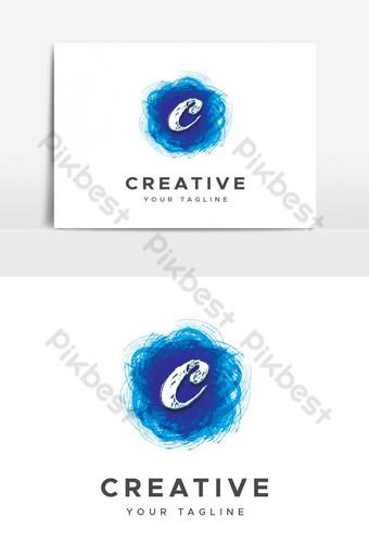 desain logo huruf c seni berwarna-warni Elemen Grafis Templat PSD