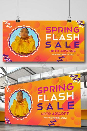 Spring Season Fashion Flash Sale Facebook Banner Template PSD