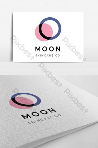 logo de piel de luna con rosa azul Modelo PSD