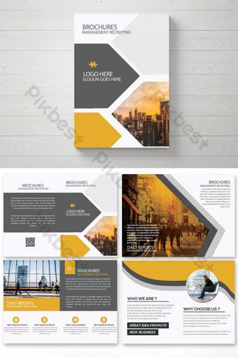 Plantilla de folleto comercial amarillo gris con 16 páginas Modelo PSD