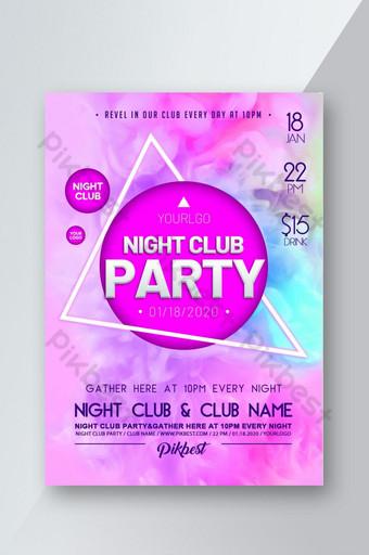 selebaran poster pesta klub malam angin asap gradien merah muda Templat PSD