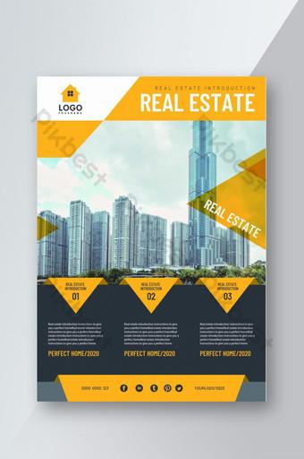 Affiche de flyer de conception géométrique de promotion immobilière Modèle PSD