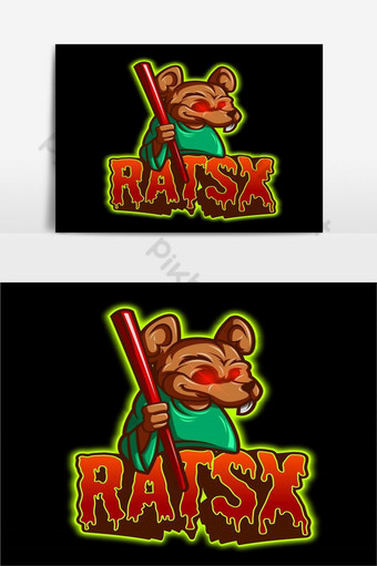 大鼠吉祥物電子競技標誌矢量圖 元素 模板 PSD