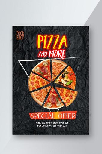 Offre Spéciale Pizza Jaune Rouge Noir Flyer Modèle PSD