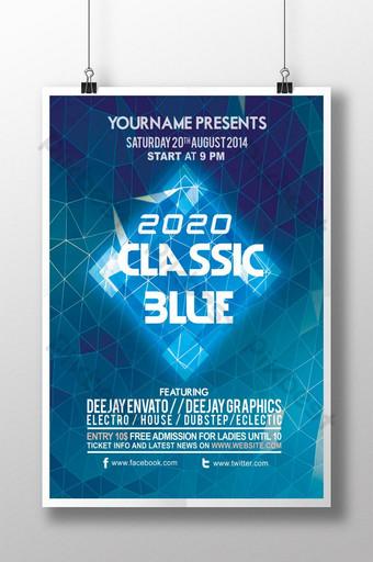 Simpleng pop klasikong asul na 2020 poster Template PSD