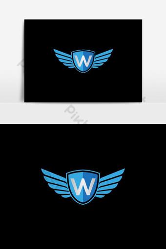 escudo creativo alas w carta logo diseño símbolo vector Elementos graficos Modelo EPS