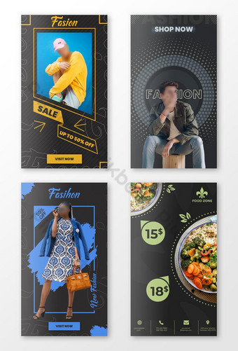 food and fashion sell Instagram story template Template PSD