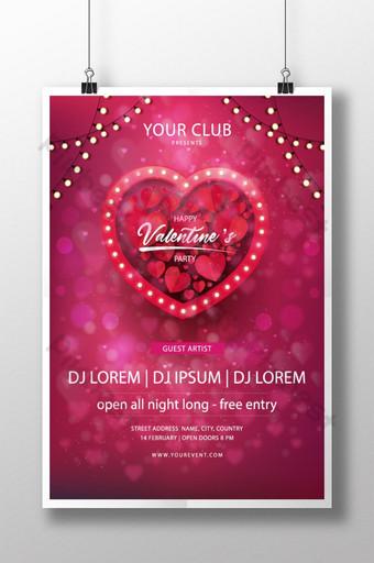 발렌타인 데이 포스터 전단지 디자인 무료 템플릿 템플릿 AI