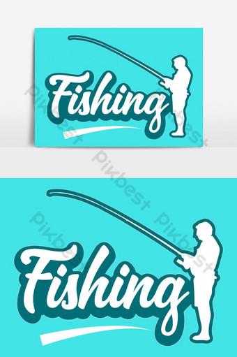 釣魚文字效果和釣魚人矢量圖 元素 模板 EPS