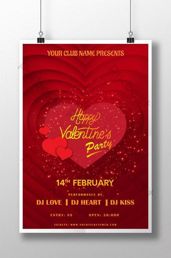 pôster de festa romântica com coração vermelho e amor dia dos namorados Modelo AI
