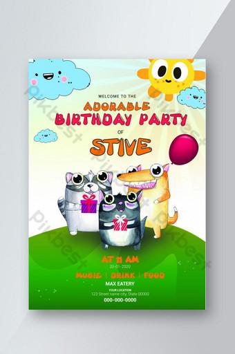 jolie carte d'anniversaire avec un animal adorable Modèle PSD