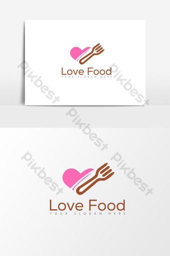 Plantilla de elemento de gráficos vectoriales de logotipo de comida de amor Elementos graficos Modelo AI