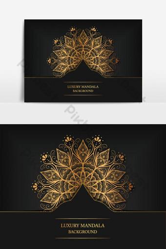 خلفية تصميم ماندالا الأزهار الفاخرة في لون الذهب ناقل حر صور PNG قالب PSD