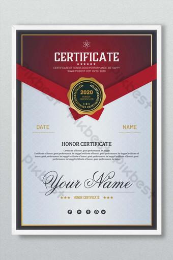 Certyfikat honorowy projekt czerwony Szablon PSD