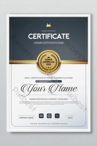 certyfikat honorowy Szablon PSD