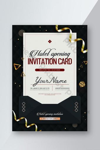 Conception d'affiche flyer or enveloppe invitation anniversaire Modèle PSD