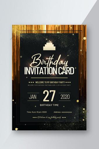 Conception d'affiche flyer invitation anniversaire dégradé doré Modèle PSD