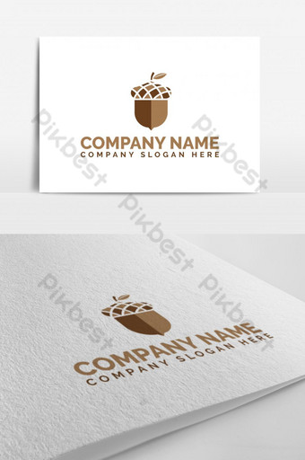 Elegant Acorn Oak Fruit Seed Nut Logo Template EPS
