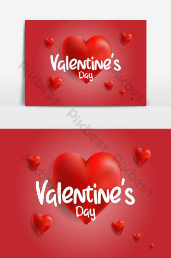 concepto feliz día de san valentín cartel banner con corazón 3d Elementos graficos Modelo EPS