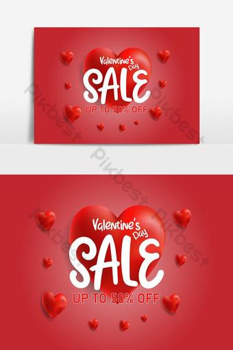 banner de cartel de venta del día de san valentín con descuento de cupón de globos en forma de corazón Elementos graficos Modelo EPS