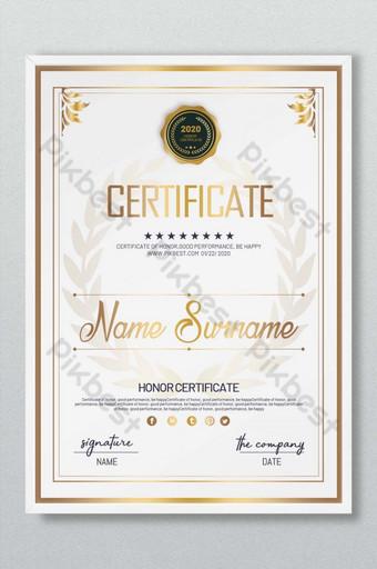 Certyfikat honorowy złoty gradient Szablon PSD