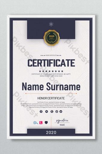 Honorowy certyfikat minimalistyczny design Szablon PSD