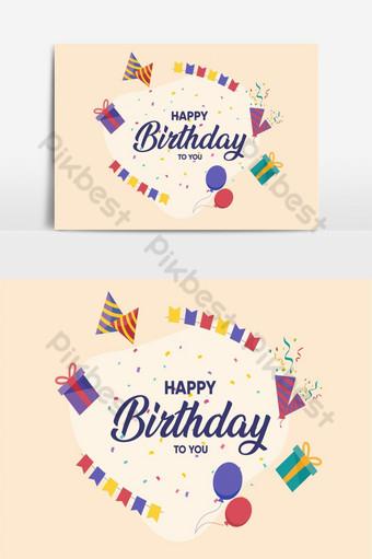 Élément graphique de vecteur de carte de voeux joyeux anniversaire Éléments graphiques Modèle AI