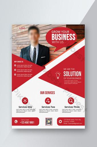 Conception de flyer d'entreprise rouge moderne dans un fichier Photoshop entièrement modifiable Modèle PSD