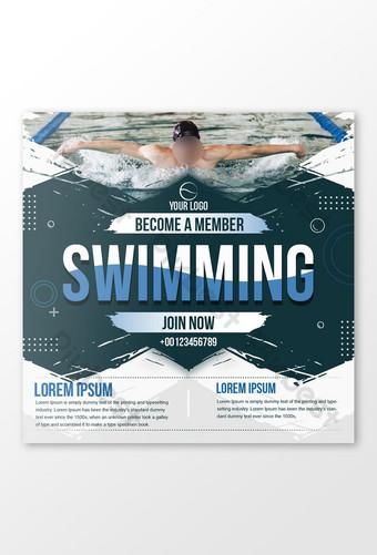 plantilla de diseño de publicación de redes sociales de natación Modelo EPS