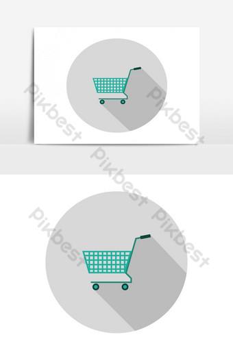 Icono de carrito de compras ilustrado y coloreado en vector sobre fondo blanco. Elementos graficos Modelo EPS