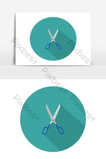 Icono de tijera ilustrado y coloreado en vector sobre fondo blanco. Elementos graficos Modelo EPS