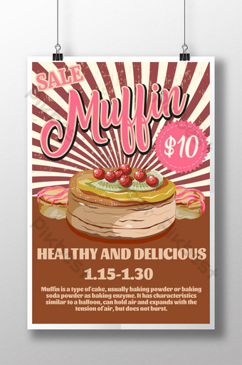 cartel de comida retro muffin Modelo PSD