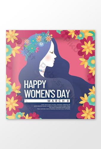 silueta femenina feliz día de la mujer tarjeta de felicitación Modelo PSD