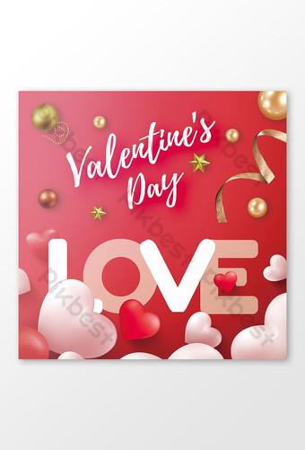 سعيد عيد الحب بطاقات المعايدة قالب PSD