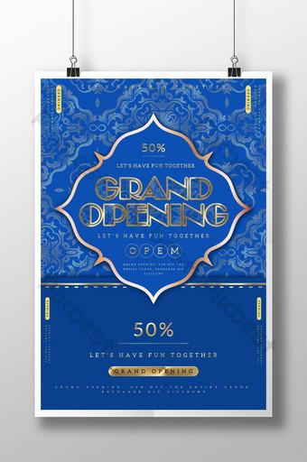 Pop color klasikong asul na grand pambungad na poster Template PSD
