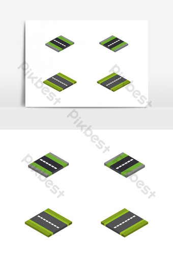 isometric street set illustrated and colored in vector on white background PNG Images Template EPS