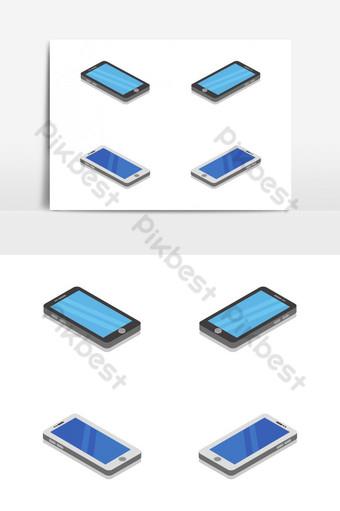 Smartphone isométrico ilustrado y coloreado en vector sobre fondo blanco. Elementos graficos Modelo EPS