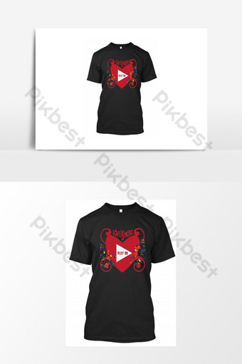 T Shirt For Valentine Day 14 February is love is music play on with red heart and notes. PNG Images Template PSD