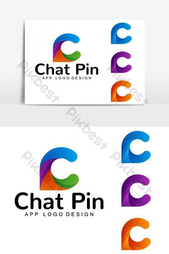 Letra c abstracta y diseño de logotipo icónico de chat Elementos graficos Modelo EPS