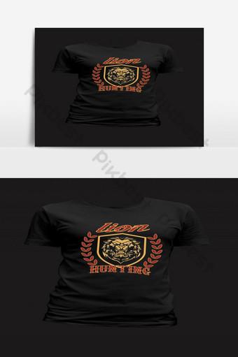Plantilla de diseño de camiseta de caza de león retro moderno Elementos graficos Modelo EPS