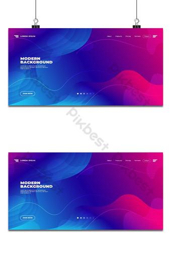 Abstract modernong disenyo ng landing page na Blue Liquid na disenyo ng background ng kulay Background Template PSD