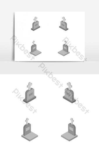 изометрическое надгробие проиллюстрировано и раскрашено в векторе на белом фоне Графические элементы шаблон EPS