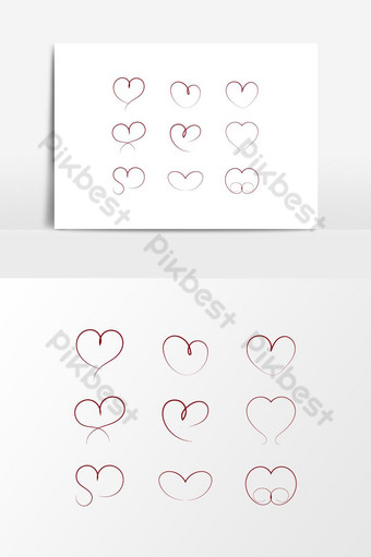 Love heart hand draw set vector graphic elements PNG Images Template AI
